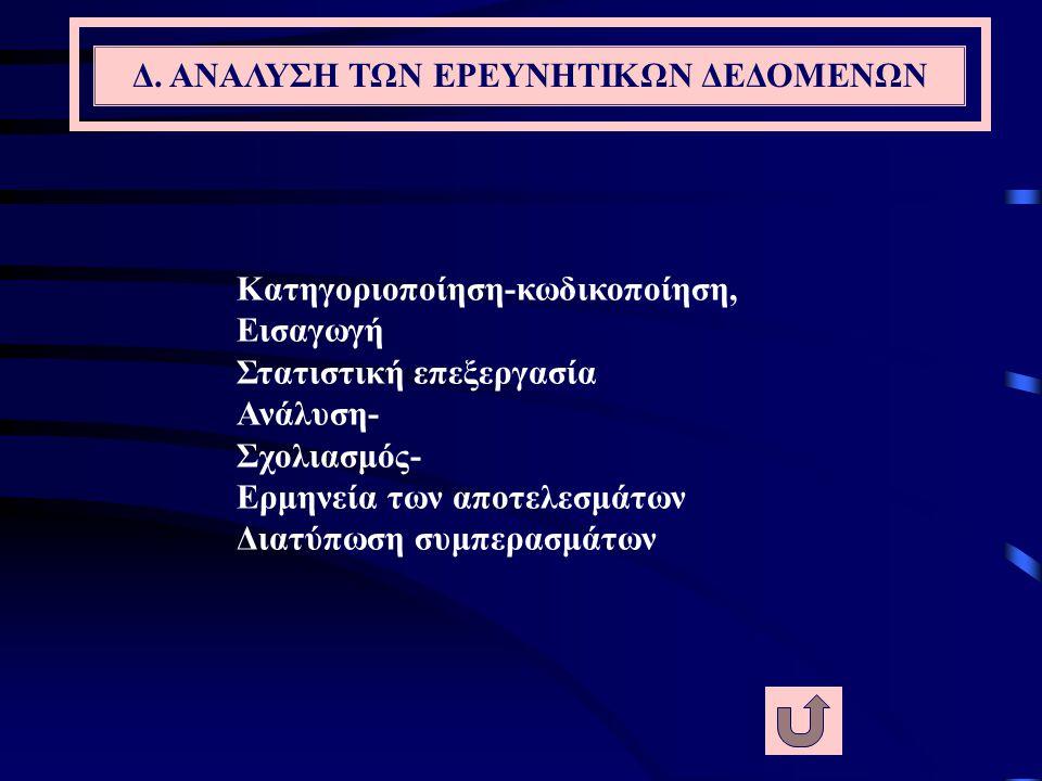 Γ. ΣΥΛΛΟΓΗ ΤΩΝ ΕΡΕΥΝΗΤΙΚΩΝ ΔΕΔΟΜΕΝΩΝ συγκρότηση ερευνητικής ομάδας, διενέργεια εξέτασης ομοιογένεια εντολών… Εφαρμογή ερευνητικού σχεδίου