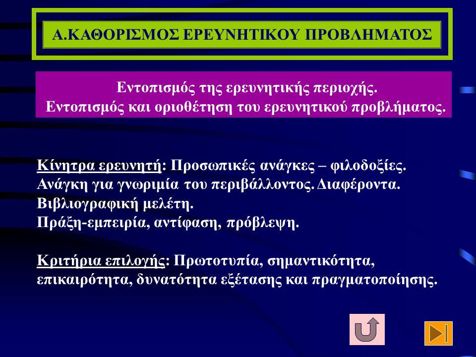 Α.ΚΑΘΟΡΙΣΜΟΣ ΕΡΕΥΝΗΤΙΚΟΥ ΠΡΟΒΛΗΜΑΤΟΣ ΑΝΑΣΚΟΠΗΣΗ ΤΗΣ ΒΙΒΛΙΟΓΡΑΦΙΑΣ (6/7) Ιδιαίτερα κρίσιμο είναι το κεφάλαιο, το οποίο συνήθως τοποθετείται ως πρώτο κατά τη θεωρητική μελέτη του θέματος και αφορά στην εννοιολογική οριοθέτηση των βασικών όρων της μελέτης.