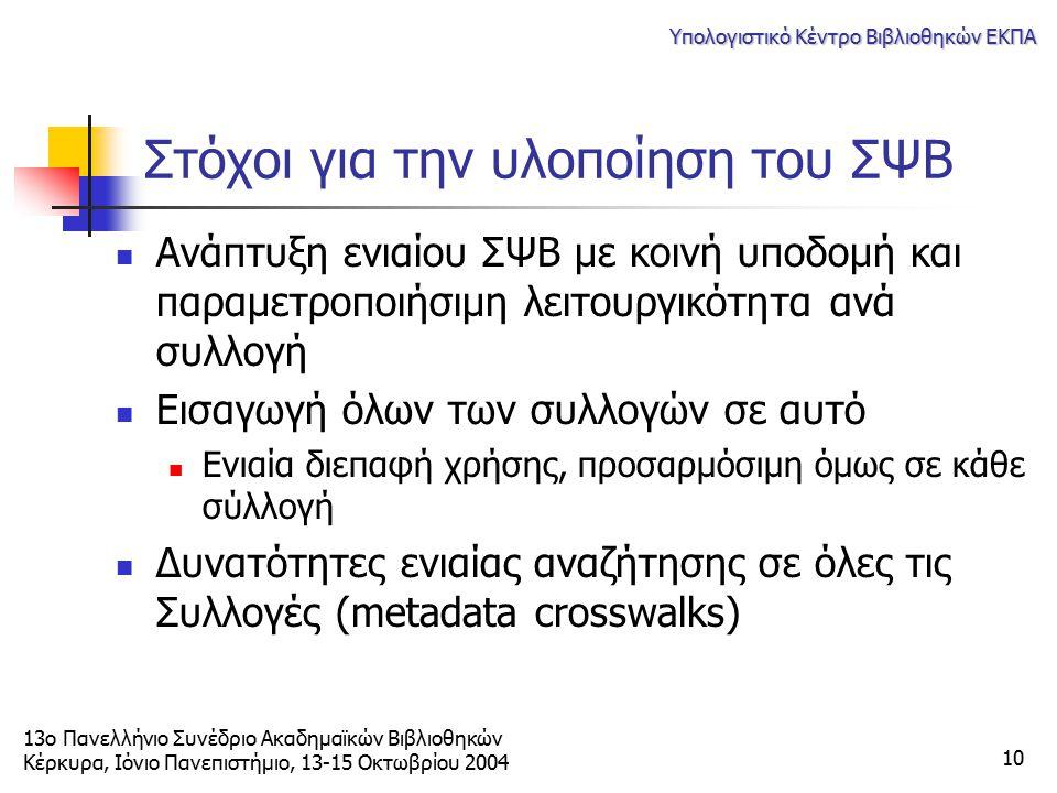 13ο Πανελλήνιο Συνέδριο Ακαδημαϊκών Βιβλιοθηκών Κέρκυρα, Ιόνιο Πανεπιστήμιο, 13-15 Οκτωβρίου 2004 Υπολογιστικό Κέντρο Βιβλιοθηκών ΕΚΠΑ 10 Στόχοι για τ