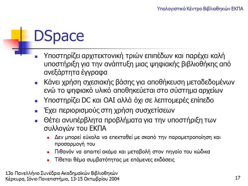 13ο Πανελλήνιο Συνέδριο Ακαδημαϊκών Βιβλιοθηκών Κέρκυρα, Ιόνιο Πανεπιστήμιο, 13-15 Οκτωβρίου 2004 Υπολογιστικό Κέντρο Βιβλιοθηκών ΕΚΠΑ 17 DSpace Υποστ