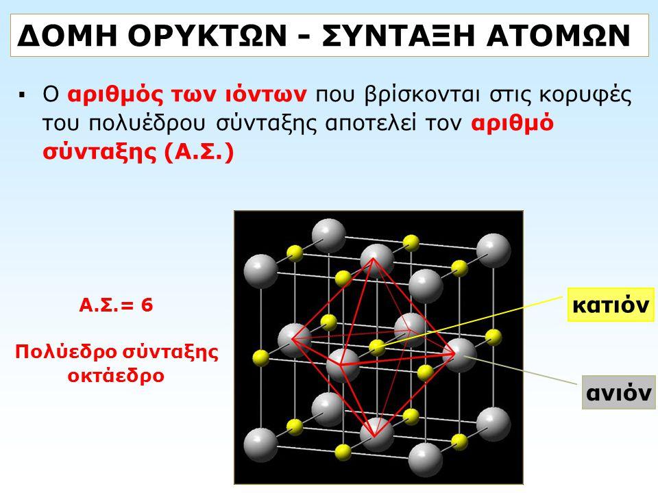 ΔΟΜΗ ΟΡΥΚΤΩΝ - ΣΥΝΤΑΞΗ ΑΤΟΜΩΝ  Ο αριθμός των ιόντων που βρίσκονται στις κορυφές του πολυέδρου σύνταξης αποτελεί τον αριθμό σύνταξης (Α.Σ.) κατιόν ανι