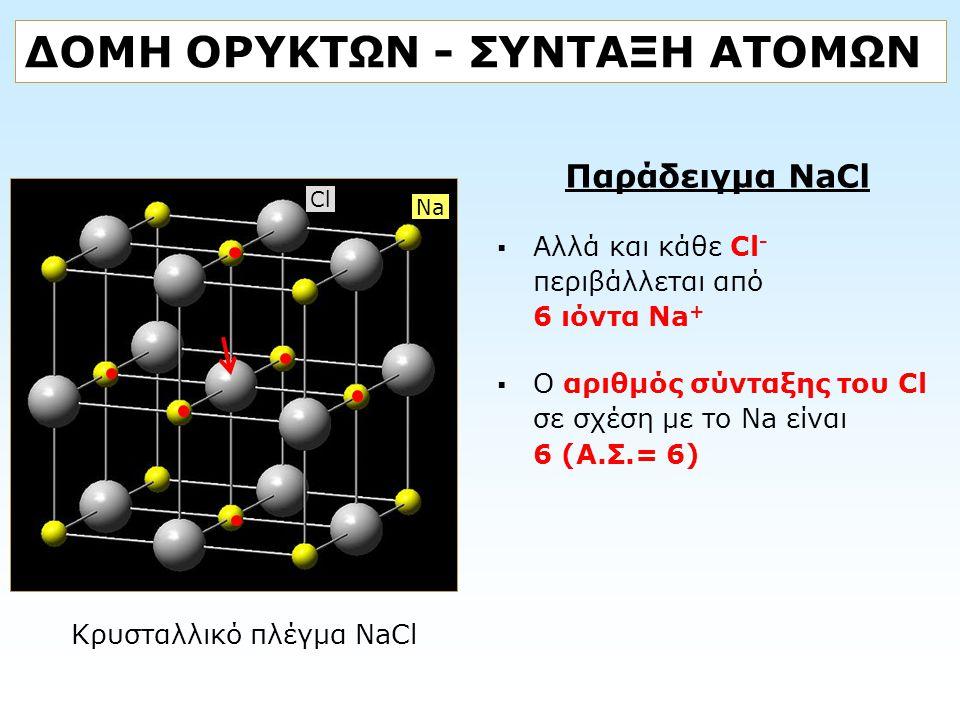 ΔΟΜΗ ΟΡΥΚΤΩΝ - ΣΥΝΤΑΞΗ ΑΤΟΜΩΝ Παράδειγμα NaCl  Αλλά και κάθε Cl - περιβάλλεται από 6 ιόντα Na +  Ο αριθμός σύνταξης του Cl σε σχέση με το Na είναι 6