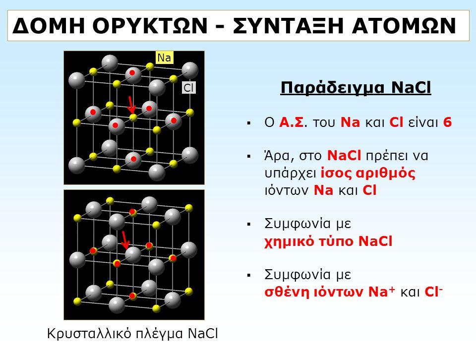 ΔΟΜΗ ΟΡΥΚΤΩΝ - ΣΥΝΤΑΞΗ ΑΤΟΜΩΝ Παράδειγμα NaCl  O Α.Σ. του Na και Cl είναι 6  Άρα, στο NaCl πρέπει να υπάρχει ίσος αριθμός ιόντων Na και Cl  Συμφωνί