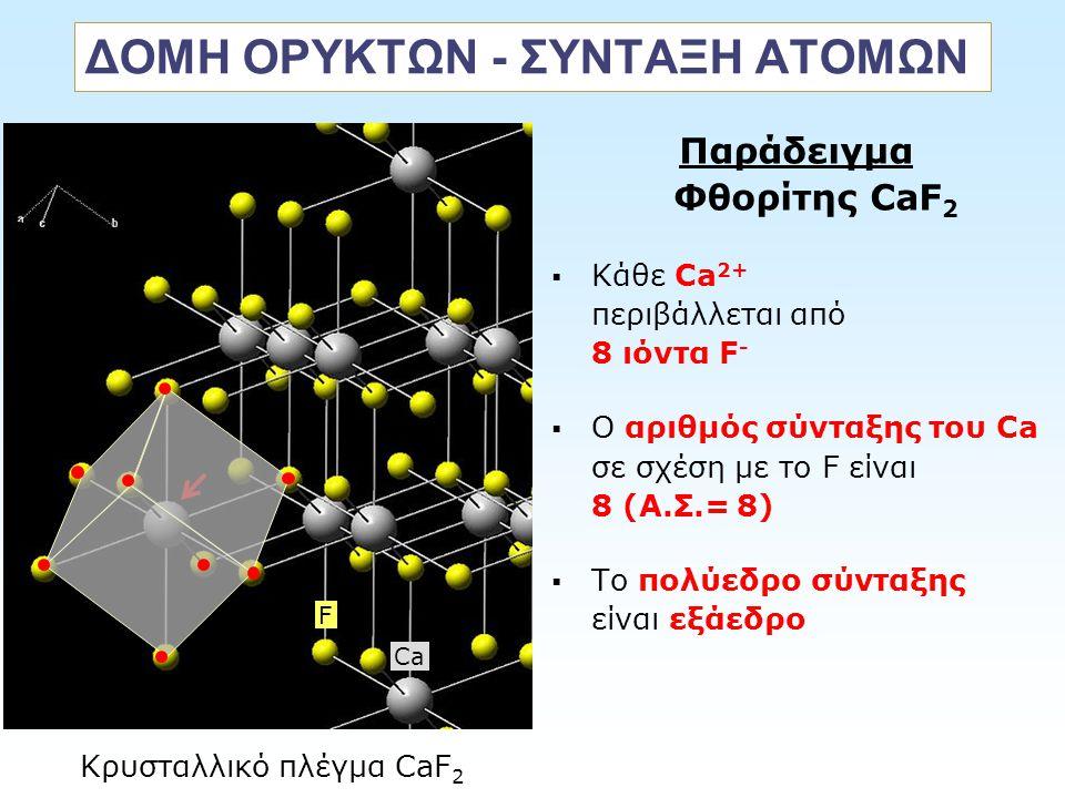 ΔΟΜΗ ΟΡΥΚΤΩΝ - ΣΥΝΤΑΞΗ ΑΤΟΜΩΝ Παράδειγμα Φθορίτης CaF 2  Κάθε Ca 2+ περιβάλλεται από 8 ιόντα F -  O αριθμός σύνταξης του Ca σε σχέση με το F είναι 8