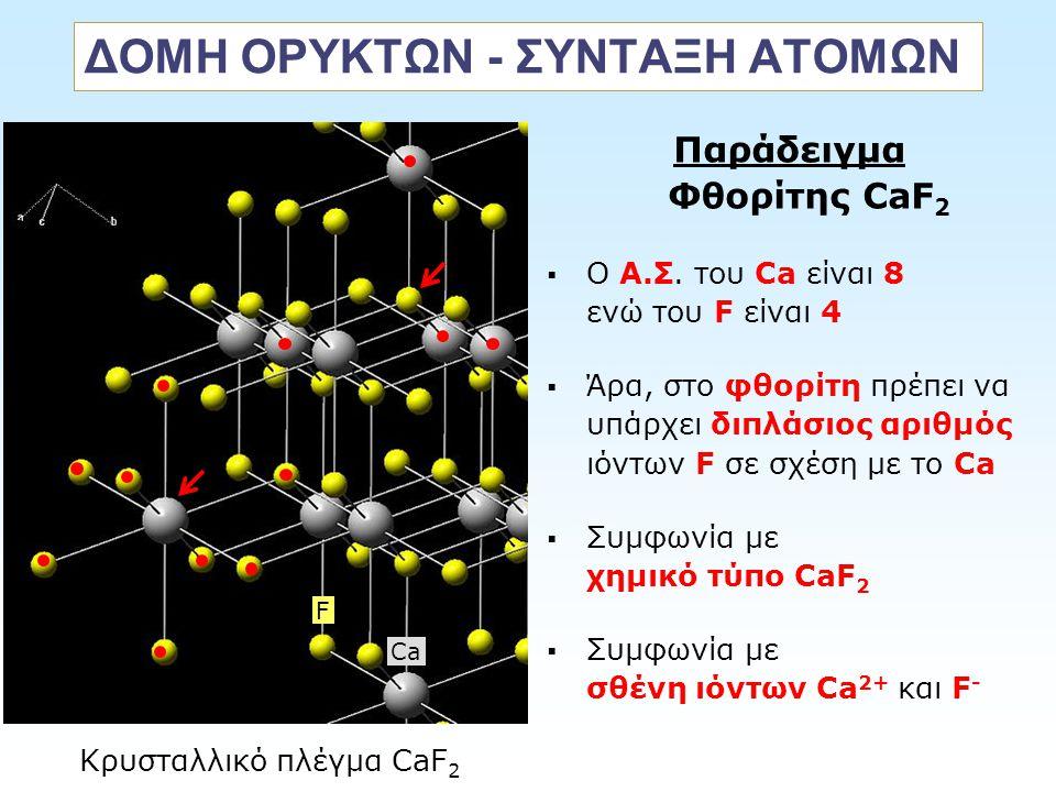 ΔΟΜΗ ΟΡΥΚΤΩΝ - ΣΥΝΤΑΞΗ ΑΤΟΜΩΝ Παράδειγμα Φθορίτης CaF 2  O Α.Σ. του Ca είναι 8 ενώ του F είναι 4  Άρα, στο φθορίτη πρέπει να υπάρχει διπλάσιος αριθμ