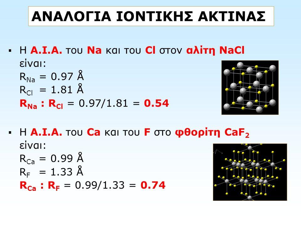 ΑΝΑΛΟΓΙΑ ΙΟΝΤΙΚΗΣ ΑΚΤΙΝΑΣ  Η Α.Ι.Α. του Na και του Cl στον αλίτη NaCl είναι: R Na = 0.97 Å R Cl = 1.81 Å R Na : R Cl = 0.97/1.81 = 0.54  Η Α.Ι.Α. το