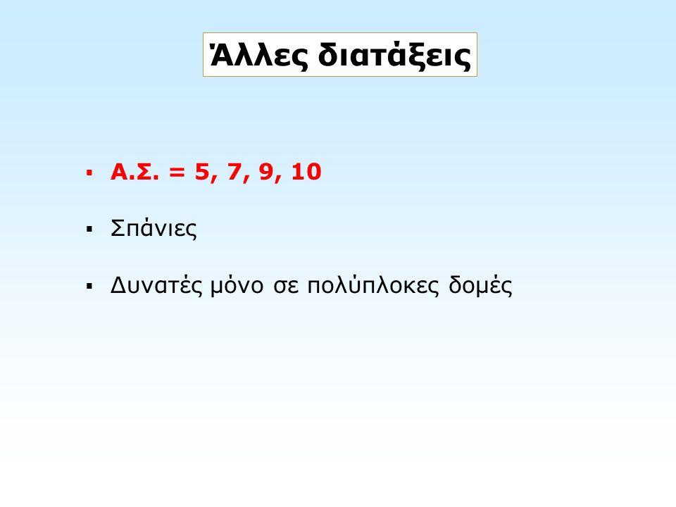Άλλες διατάξεις  Α.Σ. = 5, 7, 9, 10  Σπάνιες  Δυνατές μόνο σε πολύπλοκες δομές
