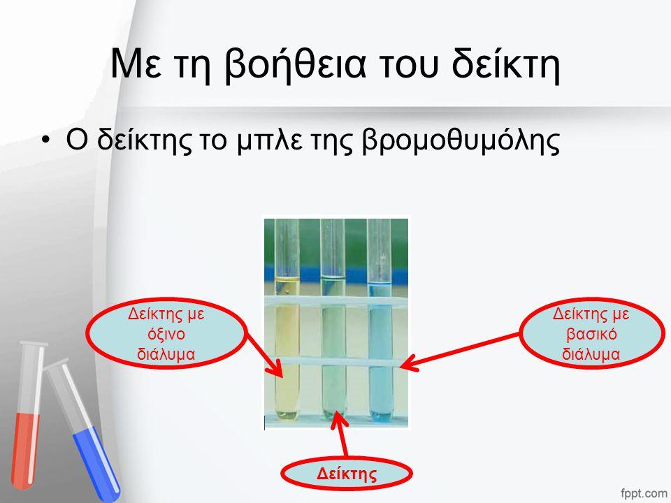 Με τη βοήθεια του δείκτη Ο δείκτης το μπλε της βρομοθυμόλης Δείκτης Δείκτης με βασικό διάλυμα Δείκτης με όξινο διάλυμα