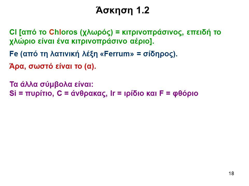 18 Άσκηση 1.2 Cl [από το Chloros (χλωρός) = κιτρινοπράσινος, επειδή το χλώριο είναι ένα κιτρινοπράσινο αέριο]. Fe (από τη λατινική λέξη «Ferrum» = σίδ