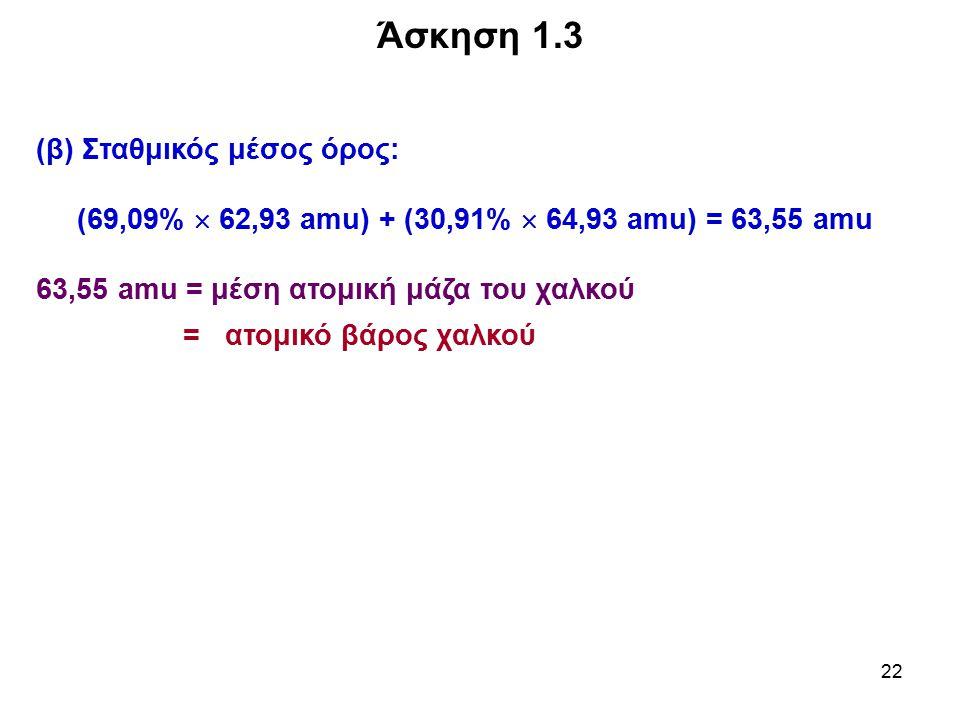 22 (β) Σταθμικός μέσος όρος: (69,09%  62,93 amu) + (30,91%  64,93 amu) = 63,55 amu 63,55 amu = μέση ατομική μάζα του χαλκού = ατομικό βάρος χαλκού Ά
