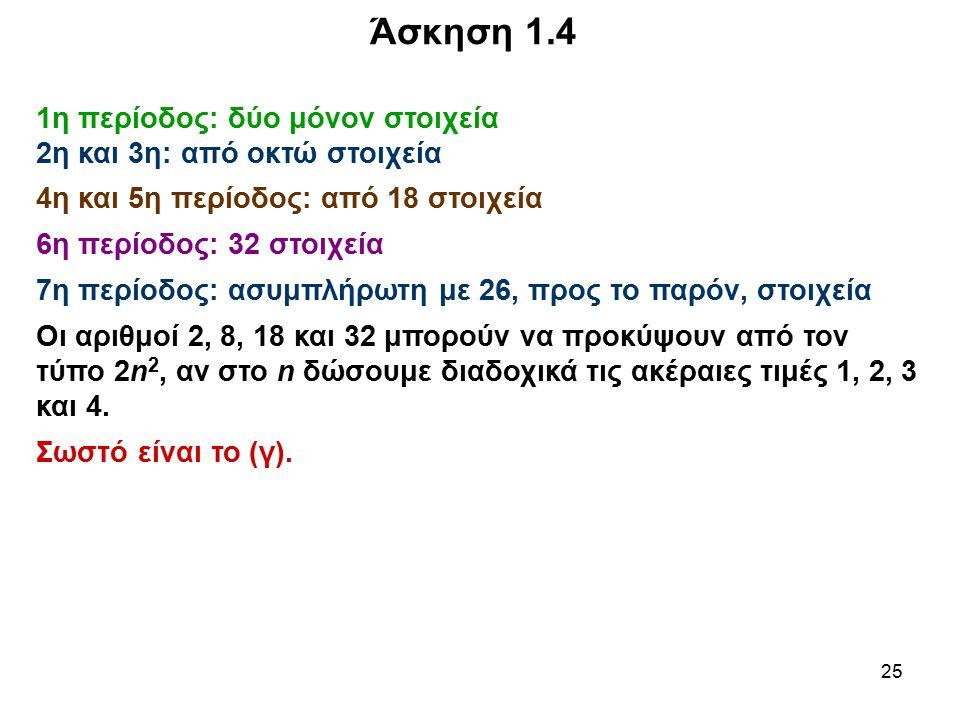 25 Άσκηση 1.4 1η περίοδος: δύο μόνον στοιχεία 2η και 3η: από οκτώ στοιχεία 4η και 5η περίοδος: από 18 στοιχεία 6η περίοδος: 32 στοιχεία 7η περίοδος: α