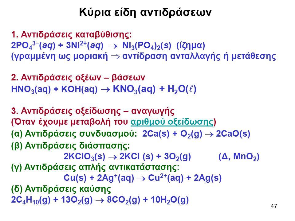 47 Κύρια είδη αντιδράσεων 1. Αντιδράσεις καταβύθισης: 2PO 4 3– (aq) + 3Ni 2+ (aq)  Ni 3 (PO 4 ) 2 (s) (ίζημα) (γραμμένη ως μοριακή  αντίδραση ανταλλ