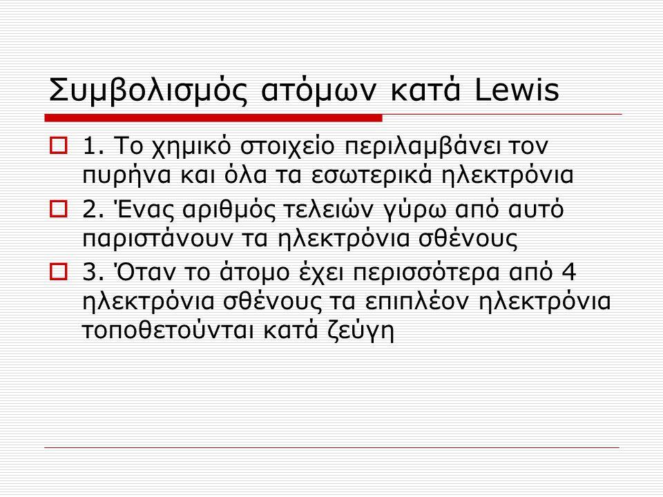 Συμβολισμός ατόμων κατά Lewis  1. Το χημικό στοιχείο περιλαμβάνει τον πυρήνα και όλα τα εσωτερικά ηλεκτρόνια  2. Ένας αριθμός τελειών γύρω από αυτό
