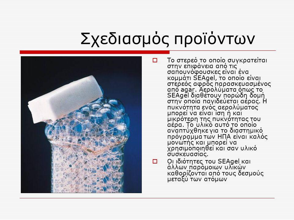 Σχεδιασμός προϊόντων  Το στερεό το οποίο συγκρατείται στην επιφάνεια από τις σαπουνόφουσκες είναι ένα κομμάτι SEAgel, το οποίο είναι στερεός αφρός πα