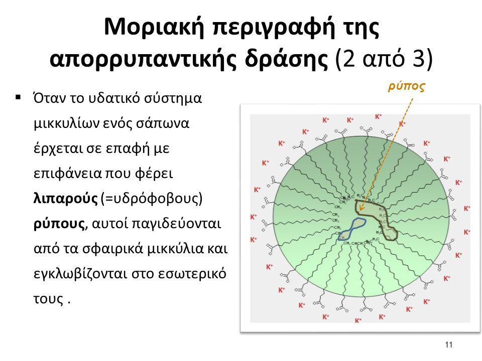 Μοριακή περιγραφή της απορρυπαντικής δράσης (3 από 3)  Με αυτό τον τρόποι οι ρύποι αποχωρίζονται από μια επιφάνεια,  Το επόμενο στάδιο είναι η απομάκρυνσή τους, με τη χρήση περίσσειας νερού,  Το μικκύλιο με τον εγκλωβισμένο ρύπο έχει υδρόφιλη συμπεριφορά λόγω του εξωτερικού του και άρα «διαλύεται» ως σύνολο στο νερό.