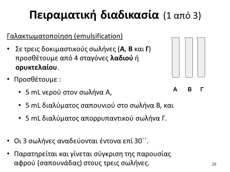 Πειραματική διαδικασία (2 από 3) Σε τέσσερις δοκιμαστικούς σωλήνες (Α1, Α2, Β και Γ) προσθέτουμε από 2 mL διαλύματος σαπουνιού.