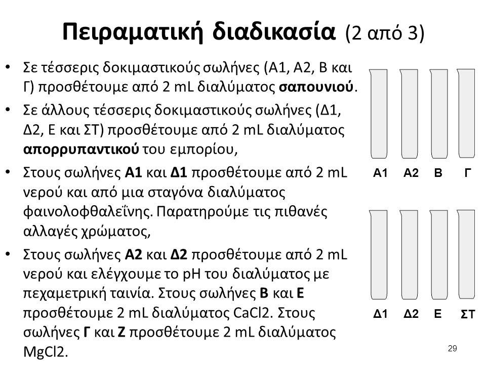 Πειραματική διαδικασία (3 από 3) Ανακινούμε προσεκτικά (όχι έντονα) τους σωλήνες Β, Γ, Ε και Ζ με σκοπό την πλήρη ανάμιξη των συστατικών σε κάθε σωλήνα, Παρατηρούμε και καταγράφουμε τον ενδεχόμενο σχηματισμό ιζημάτων ή/και αφρού, καθώς και της σχετικής τους ποσότητας ή έντασης, Προσθέτουμε στους 6 σωλήνες από 4 σταγόνες λαδιού και αναδεύουμε έντονα.