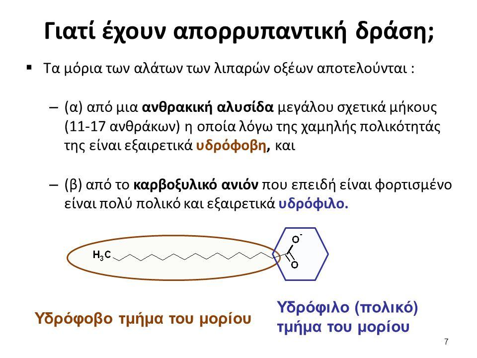 Τα μόρια των σαπώνων οργανώνονται σε μικκύλια  Η συνύπαρξη των δυο ακραίων τάσεων της υδροφοβικότητας και της υδροφιλικότητας στο ίδιο μόριο του προσδίδουν την ιδιότητα του αμφίφιλου,  Όταν αυτά τα αμφίφιλα μόρια βρεθούν σε νερό, έχουν την τάση να οργανώνονται σε σφαιρικές δομές που καλούνται αμφίφυλα συσσωματώματα, ή μικκύλια (micelles).