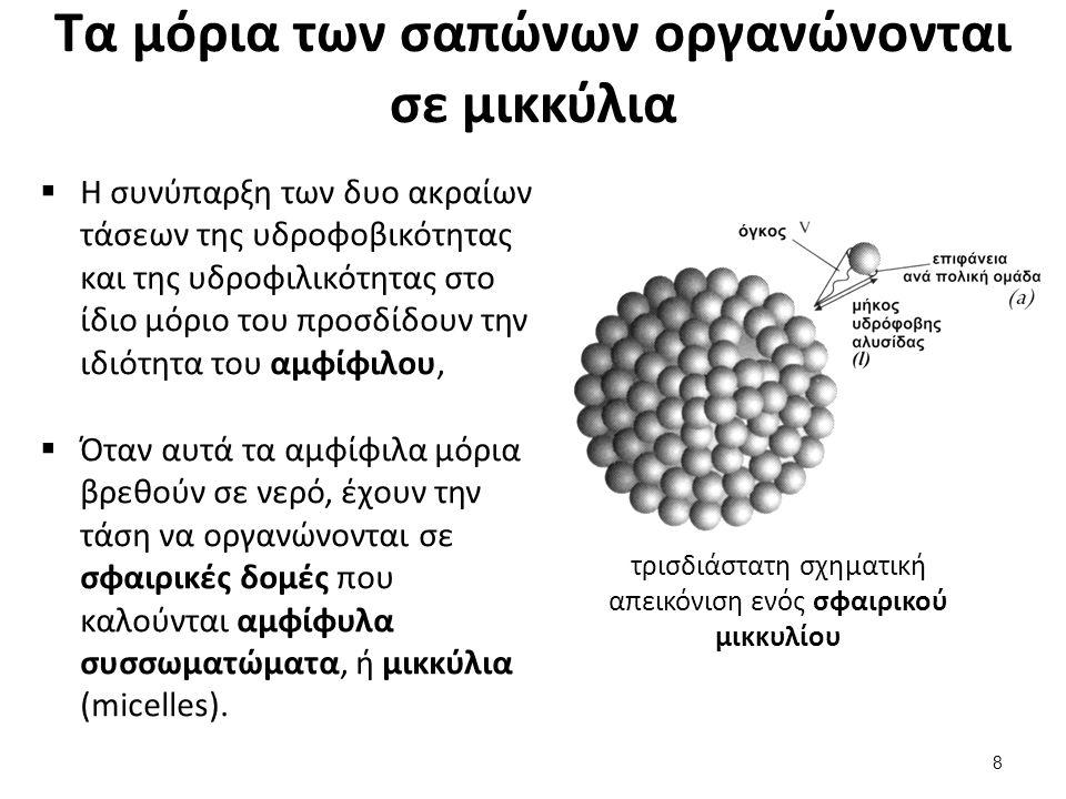 Πώς συγκροτούνται τα μικκύλια στο νερό;  Στις μικκυλιακές δομές τους μέσα στο νερό, όλα τα μόρια ενός σάπωνα οργανώνονται ώστε,  να συνωστίζουν τις υδρόφοβες ανθρακικές αλυσίδες στο εσωτερικό των σφαιριδίων (και συνεπώς μακριά από το νερό),  και τις πολικές ομάδες (καρβοξυλικά ανιόντα) προς τα έξω.