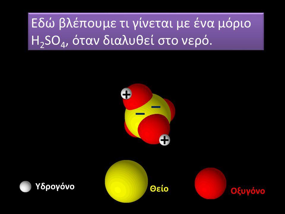Υδρογόνο Θείο Οξυγόνο Εδώ βλέπουμε τι γίνεται με ένα μόριο H 2 SO 4, όταν διαλυθεί στο νερό. + +