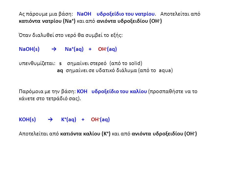 Ας πάρουμε μια βάση: NaOH υδροξείδιο του νατρίου.