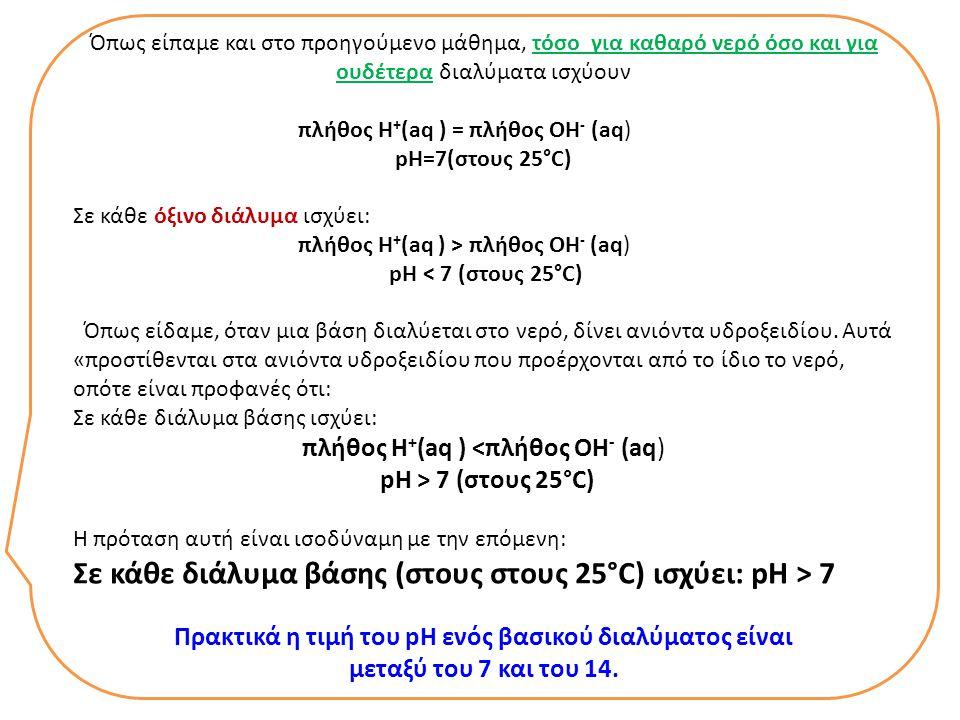Όπως είπαμε και στο προηγούμενο μάθημα, τόσο για καθαρό νερό όσο και για ουδέτερα διαλύματα ισχύουν πλήθος Η + (aq ) = πλήθος ΟΗ - (aq) pH=7(στους 25°C) Σε κάθε όξινο διάλυμα ισχύει: πλήθος Η + (aq ) > πλήθος ΟΗ - (aq) pH < 7 (στους 25°C) Όπως είδαμε, όταν μια βάση διαλύεται στο νερό, δίνει ανιόντα υδροξειδίου.