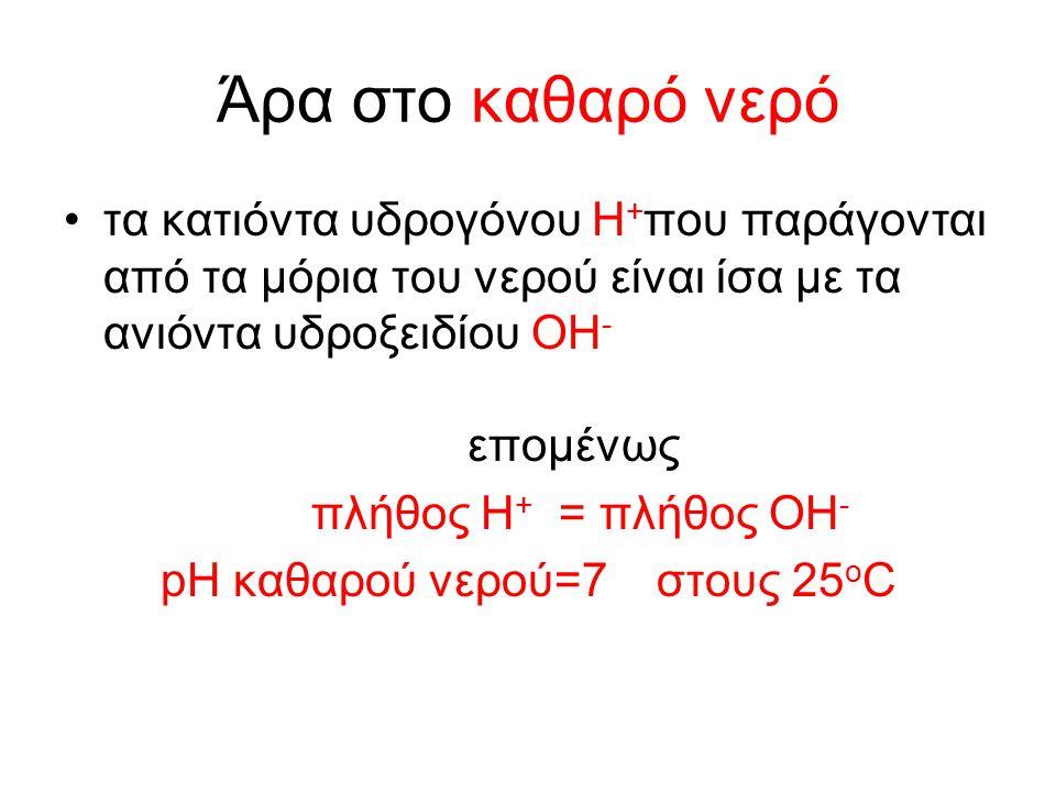 Άρα στο καθαρό νερό τα κατιόντα υδρογόνου H + που παράγονται από τα μόρια του νερού είναι ίσα με τα ανιόντα υδροξειδίου OH - επομένως πλήθος H + = πλήθος OH - pH καθαρού νερού=7 στους 25 ο C