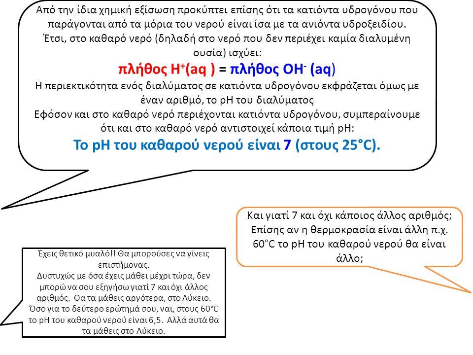 Από την ίδια χημική εξίσωση προκύπτει επίσης ότι τα κατιόντα υδρογόνου που παράγονται από τα μόρια του νερού είναι ίσα με τα ανιόντα υδροξειδίου. Έτσι
