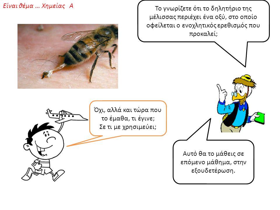 Το γνωρίζετε ότι το δηλητήριο της μέλισσας περιέχει ένα οξύ, στο οποίο οφείλεται ο ενοχλητικός ερεθισμός που προκαλεί; Όχι, αλλά και τώρα που το έμαθα