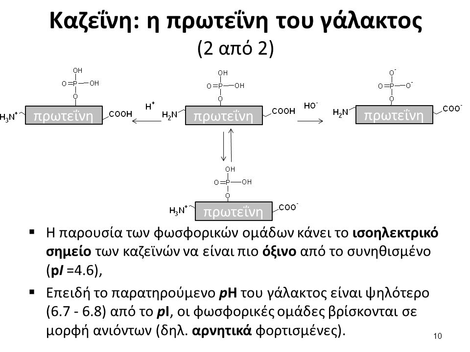 Καζεΐνη: η πρωτεΐνη του γάλακτος (2 από 2) πρωτεΐνη  Η παρουσία των φωσφορικών ομάδων κάνει το ισοηλεκτρικό σημείο των καζεϊνών να είναι πιο όξινο από το συνηθισμένο (pΙ =4.6),  Επειδή το παρατηρούμενο pH του γάλακτος είναι ψηλότερο (6.7 - 6.8) από το pΙ, οι φωσφορικές ομάδες βρίσκονται σε μορφή ανιόντων (δηλ.