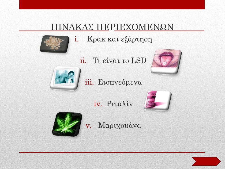 ΠΙΝΑΚΑΣ ΠΕΡΙΕΧΟΜΕΝΩΝ i.Κρακ και εξάρτηση ii.Τι είναι το LSD iii.Εισπνεόμενα iv.Ριταλίν v.Μαριχουάνα