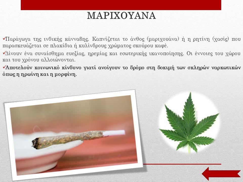 ΜΑΡΙΧΟΥΑΝΑ Παράγωγα της ινδικής κάνναβης. Καπνίζεται το άνθος (μαριχουάνα) ή η ρητίνη (χασίς) που παρασκευάζεται σε πλακίδια ή κυλίνδρους χρώματος σκο