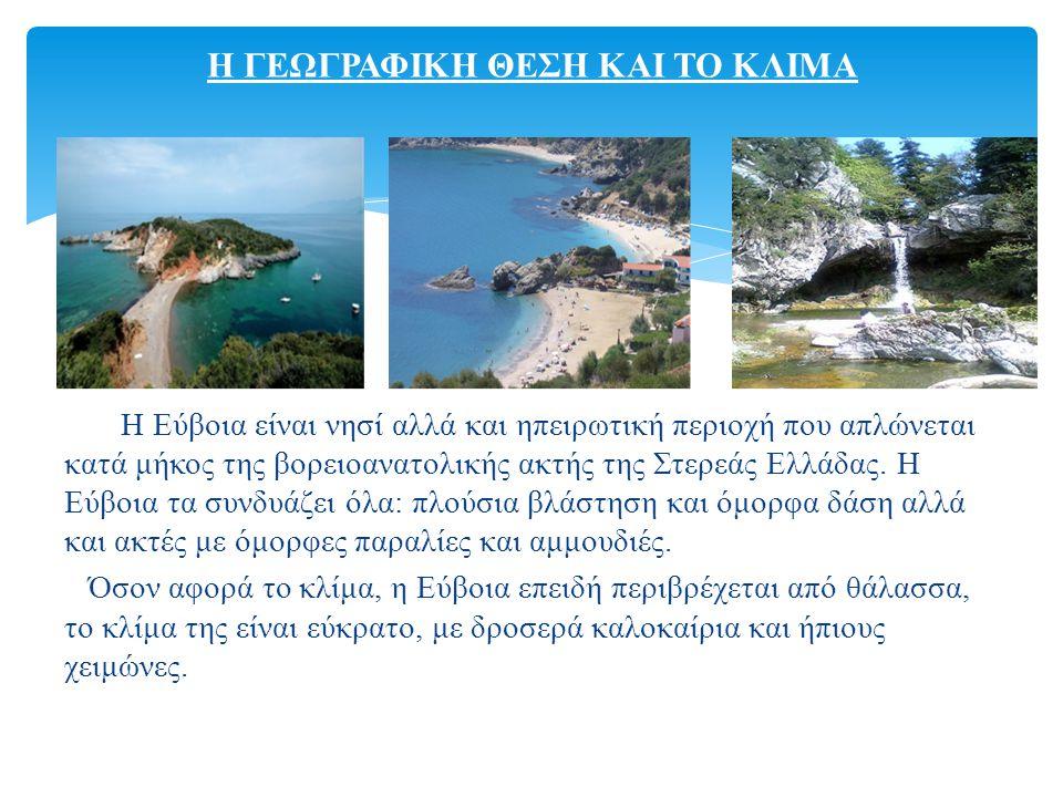 Η Εύβοια είναι νησί αλλά και ηπειρωτική περιοχή που απλώνεται κατά μήκος της βορειοανατολικής ακτής της Στερεάς Ελλάδας.