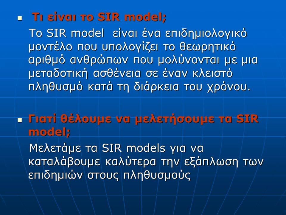 Τι είναι το SIR model; Τι είναι το SIR model; Το SIR model είναι ένα επιδημιολογικό μοντέλο που υπολογίζει το θεωρητικό αριθμό ανθρώπων που μολύνονται με μια μεταδοτική ασθένεια σε έναν κλειστό πληθυσμό κατά τη διάρκεια του χρόνου.