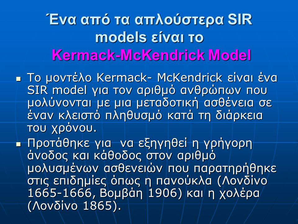 Ένα από τα απλούστερα SIR models είναι το Kermack-McKendrick Model Το μοντέλο Kermack- McKendrick είναι ένα SIR model για τον αριθμό ανθρώπων που μολύνονται με μια μεταδοτική ασθένεια σε έναν κλειστό πληθυσμό κατά τη διάρκεια του χρόνου.