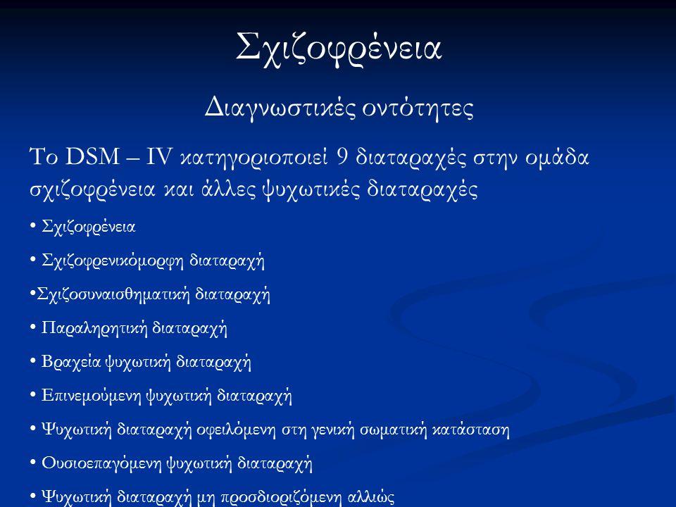 Σχιζοφρένεια Διαγνωστικές οντότητες Το DSM – IV κατηγοριοποιεί 9 διαταραχές στην ομάδα σχιζοφρένεια και άλλες ψυχωτικές διαταραχές Σχιζοφρένεια Σχιζοφ
