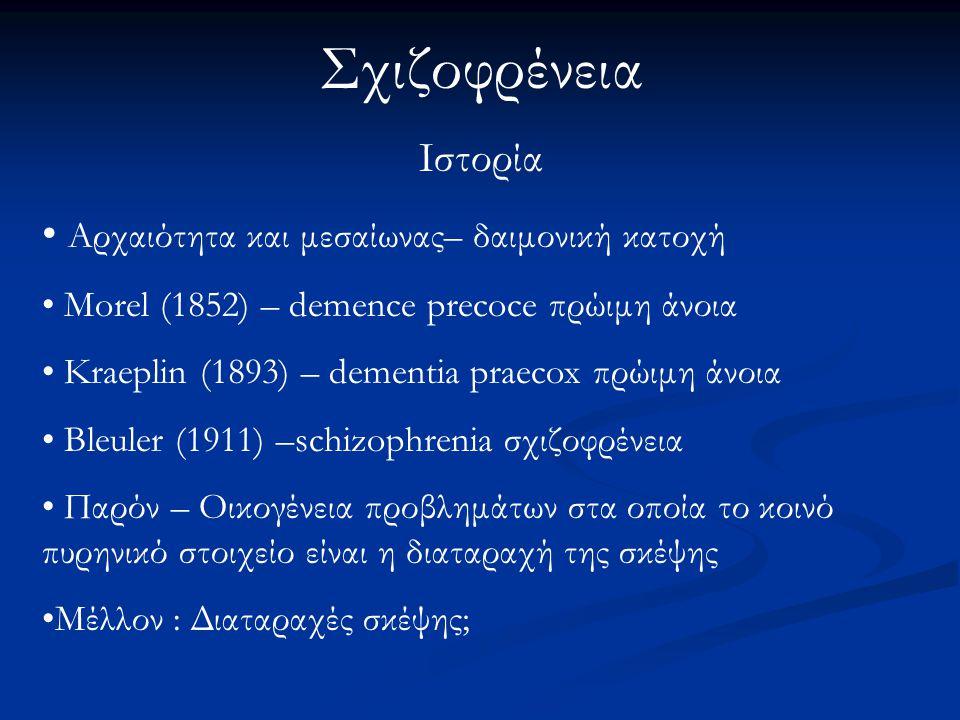 Σχιζοφρένεια Ιστορία Αρχαιότητα και μεσαίωνας– δαιμονική κατοχή Morel (1852) – demence precoce πρώιμη άνοια Kraeplin (1893) – dementia praecox πρώιμη