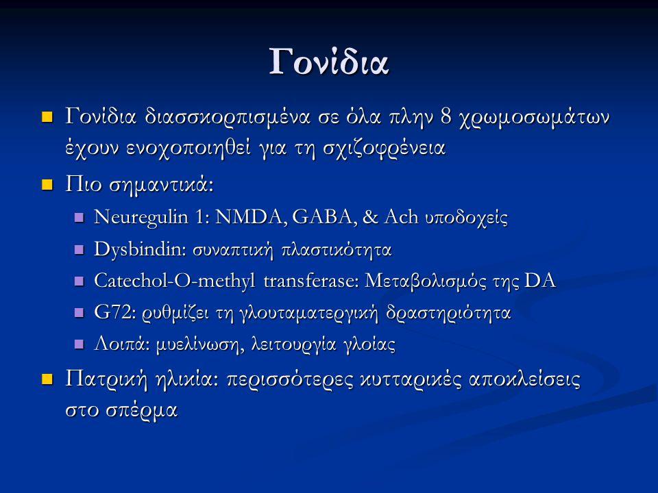 Γονίδια Γονίδια διασσκορπισμένα σε όλα πλην 8 χρωμοσωμάτων έχουν ενοχοποιηθεί για τη σχιζοφρένεια Γονίδια διασσκορπισμένα σε όλα πλην 8 χρωμοσωμάτων έ