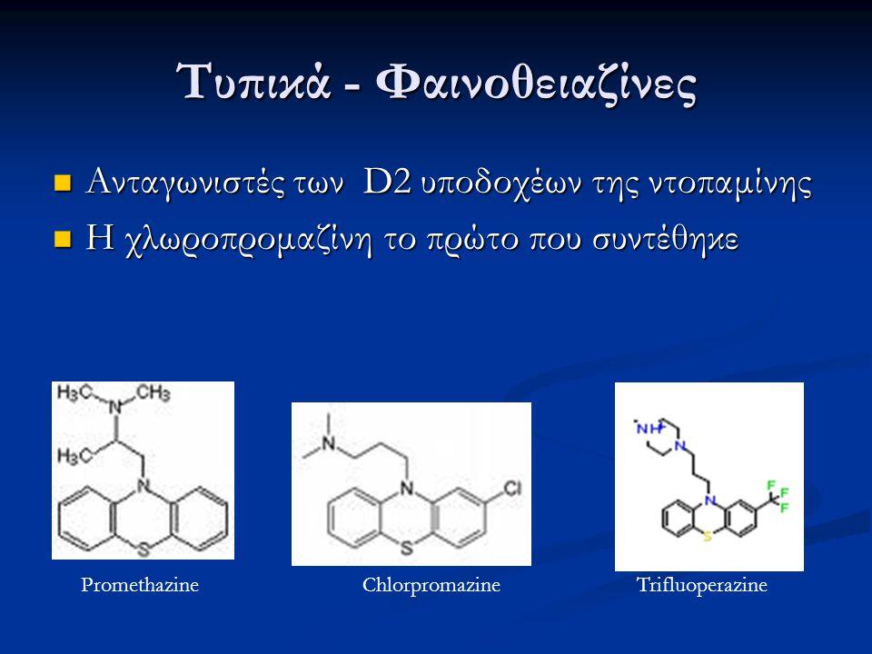 Τυπικά - Φαινοθειαζίνες Ανταγωνιστές των D2 υποδοχέων της ντοπαμίνης Ανταγωνιστές των D2 υποδοχέων της ντοπαμίνης Η χλωροπρομαζίνη το πρώτο που συντέθ