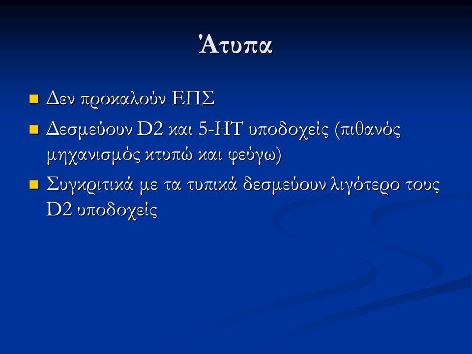 Άτυπα Δεν προκαλούν ΕΠΣ Δεν προκαλούν ΕΠΣ Δεσμεύουν D2 και 5-HT υποδοχείς (πιθανός μηχανισμός κτυπώ και φεύγω) Δεσμεύουν D2 και 5-HT υποδοχείς (πιθανό