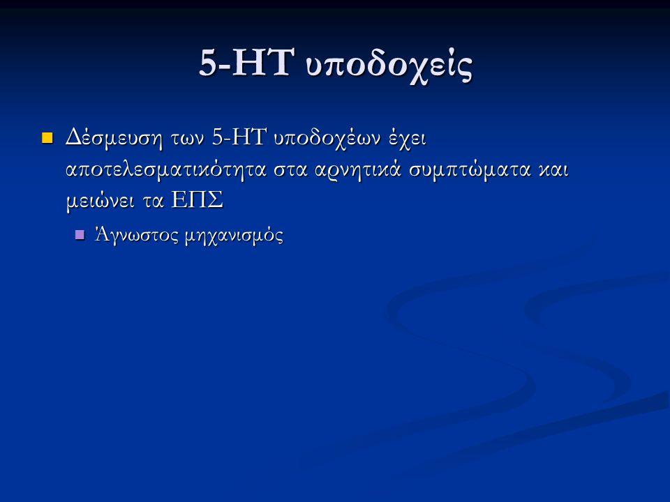 5-HT υποδοχείς Δέσμευση των 5-HT υποδοχέων έχει αποτελεσματικότητα στα αρνητικά συμπτώματα και μειώνει τα ΕΠΣ Δέσμευση των 5-HT υποδοχέων έχει αποτελε