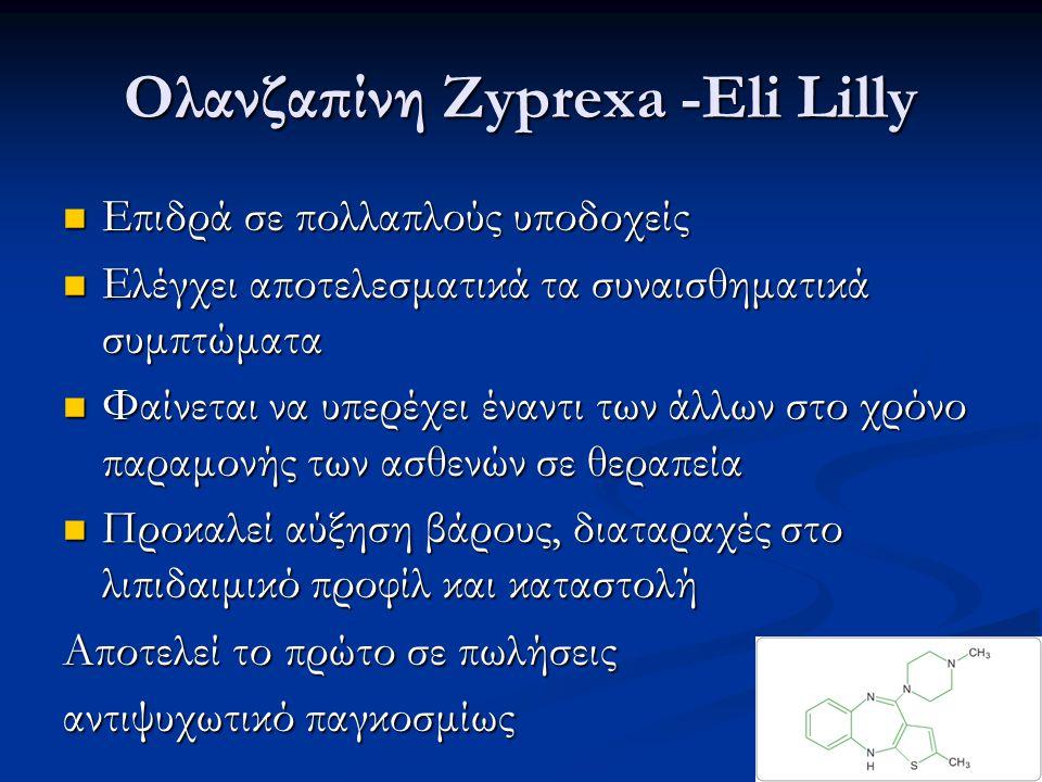 Ολανζαπίνη Zyprexa -Eli Lilly Επιδρά σε πολλαπλούς υποδοχείς Επιδρά σε πολλαπλούς υποδοχείς Ελέγχει αποτελεσματικά τα συναισθηματικά συμπτώματα Ελέγχε