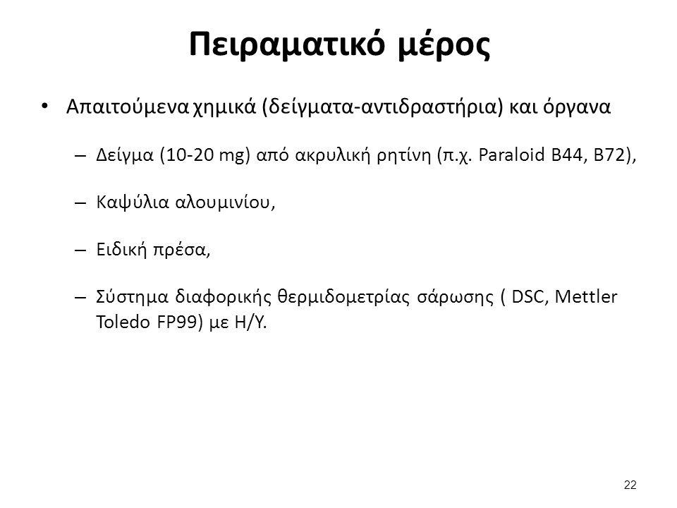 Πειραματικό μέρος Απαιτούμενα χημικά (δείγματα-αντιδραστήρια) και όργανα – Δείγμα (10-20 mg) από ακρυλική ρητίνη (π.χ. Paraloid B44, B72), – Καψύλια α