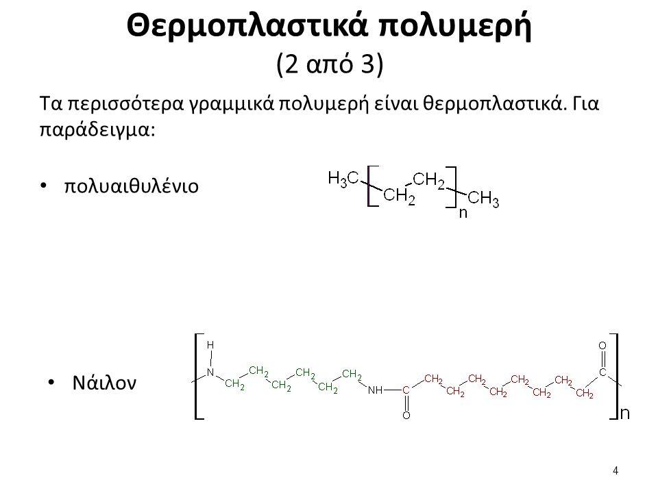 Θερμοπλαστικά πολυμερή (2 από 3) Τα περισσότερα γραμμικά πολυμερή είναι θερμοπλαστικά. Για παράδειγμα: πολυαιθυλένιο Νάιλον 4