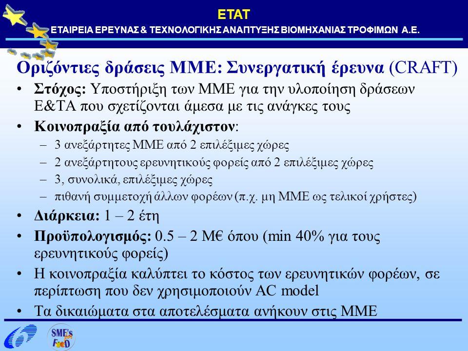 ΕΤΑΤ ΕΤΑΙΡΕΙΑ ΕΡΕΥΝΑΣ & ΤΕΧΝΟΛΟΓΙΚΗΣ ΑΝΑΠΤΥΞΗΣ ΒΙΟΜΗΧΑΝΙΑΣ ΤΡΟΦΙΜΩΝ Α.Ε. Οριζόντιες δράσεις ΜΜΕ: Συνεργατική έρευνα (CRAFT) Στόχος: Υποστήριξη των ΜΜΕ