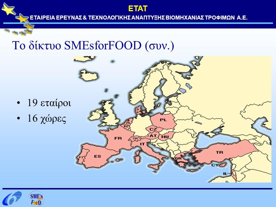 ΕΤΑΤ ΕΤΑΙΡΕΙΑ ΕΡΕΥΝΑΣ & ΤΕΧΝΟΛΟΓΙΚΗΣ ΑΝΑΠΤΥΞΗΣ ΒΙΟΜΗΧΑΝΙΑΣ ΤΡΟΦΙΜΩΝ Α.Ε. Το δίκτυο SMEsforFOOD (συν.) 19 εταίροι 16 χώρες