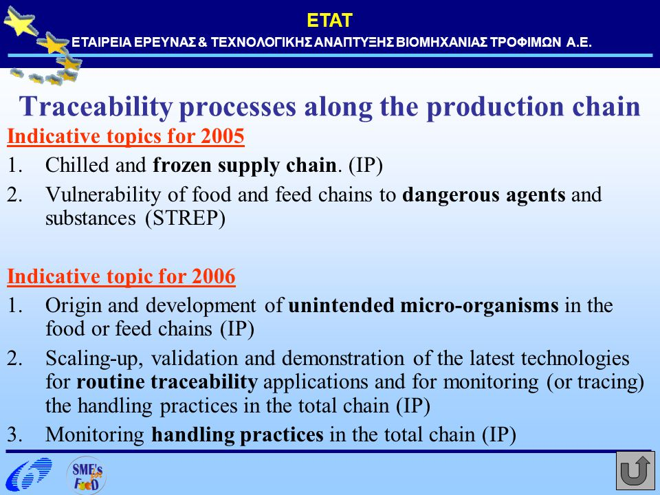 ΕΤΑΤ ΕΤΑΙΡΕΙΑ ΕΡΕΥΝΑΣ & ΤΕΧΝΟΛΟΓΙΚΗΣ ΑΝΑΠΤΥΞΗΣ ΒΙΟΜΗΧΑΝΙΑΣ ΤΡΟΦΙΜΩΝ Α.Ε. Traceability processes along the production chain Indicative topics for 2005