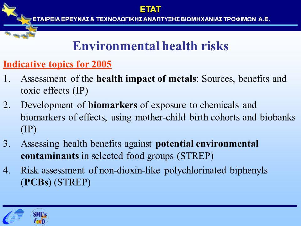 ΕΤΑΤ ΕΤΑΙΡΕΙΑ ΕΡΕΥΝΑΣ & ΤΕΧΝΟΛΟΓΙΚΗΣ ΑΝΑΠΤΥΞΗΣ ΒΙΟΜΗΧΑΝΙΑΣ ΤΡΟΦΙΜΩΝ Α.Ε. Environmental health risks Indicative topics for 2005 1.Assessment of the hea