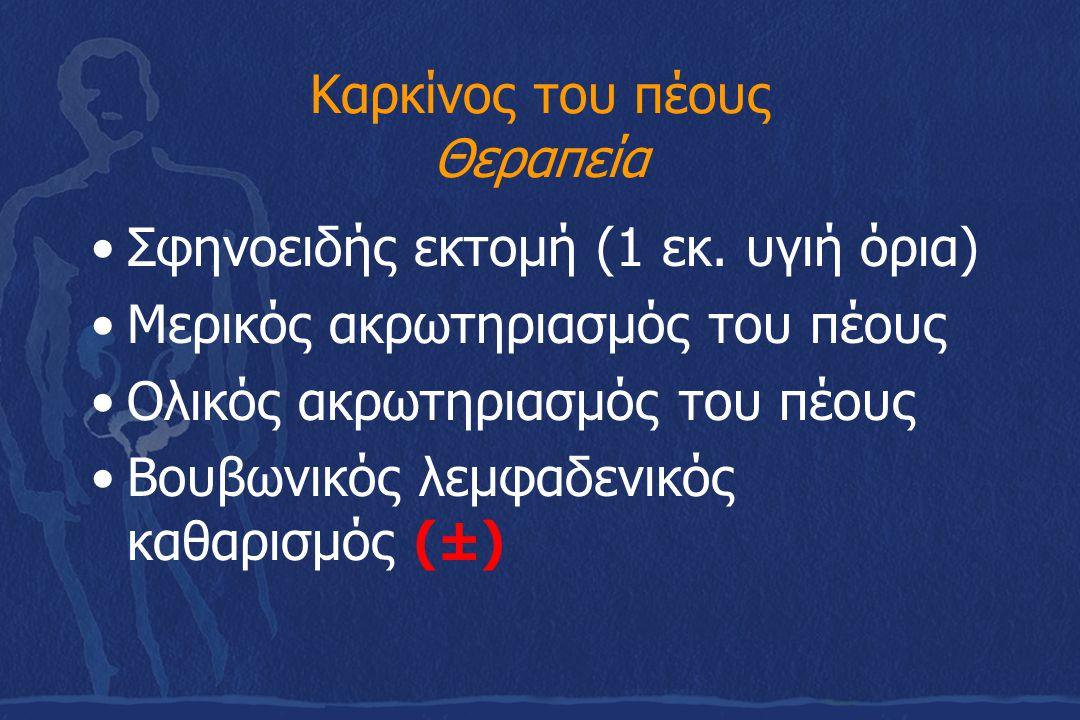 Καρκίνος του πέους Θεραπεία Σφηνοειδής εκτομή (1 εκ. υγιή όρια) Μερικός ακρωτηριασμός του πέους Ολικός ακρωτηριασμός του πέους Βουβωνικός λεμφαδενικός