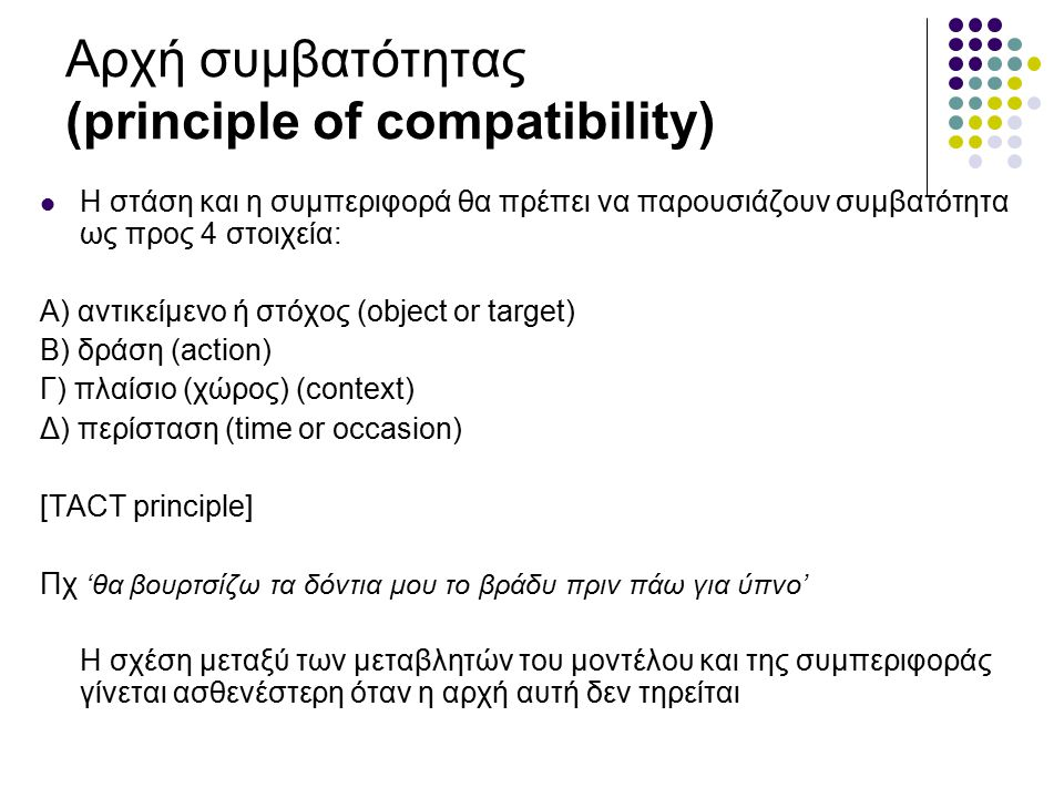 Αρχή συμβατότητας (principle of compatibility) Η στάση και η συμπεριφορά θα πρέπει να παρουσιάζουν συμβατότητα ως προς 4 στοιχεία: A) αντικείμενο ή στόχος (object or target) B) δράση (action) Γ) πλαίσιο (χώρος) (context) Δ) περίσταση (time or occasion) [TACT principle] Πχ 'θα βουρτσίζω τα δόντια μου το βράδυ πριν πάω για ύπνο' Η σχέση μεταξύ των μεταβλητών του μοντέλου και της συμπεριφοράς γίνεται ασθενέστερη όταν η αρχή αυτή δεν τηρείται